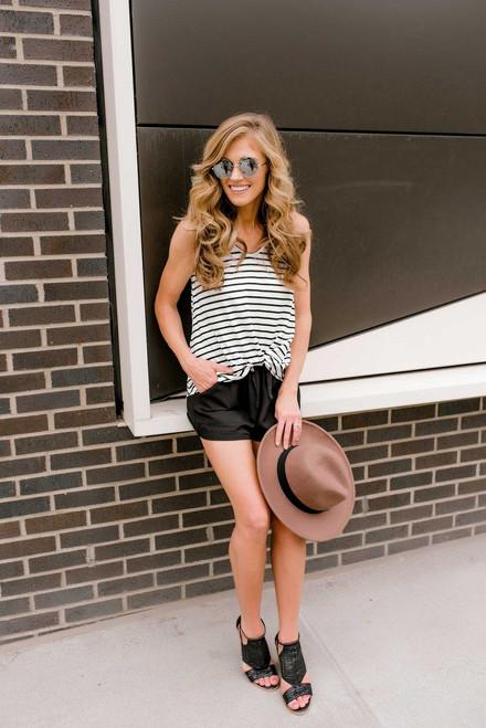 Summer Getaway Drawstring Shorts - Black