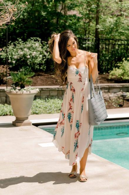 Free People Beau Smocked Printed Slip Midi Dress - Ivory