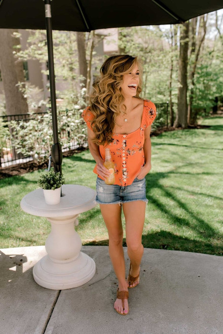 Free People Close to You Blouse - Orange - FINAL SALE