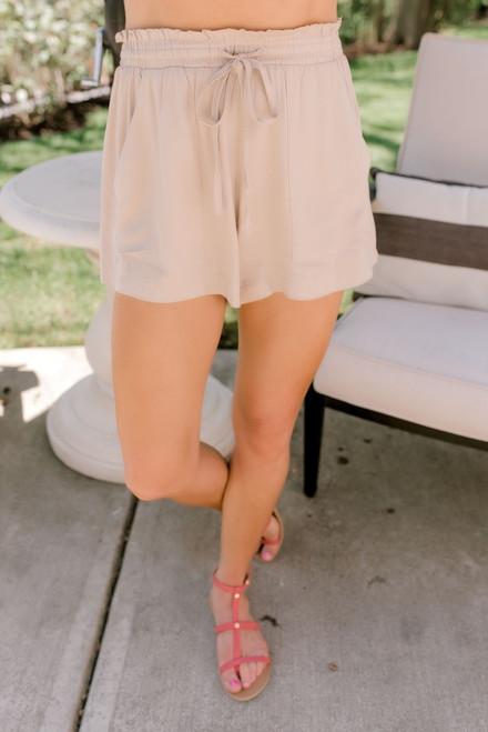 Summer Getaway Drawstring Shorts - Taupe - FINAL SALE