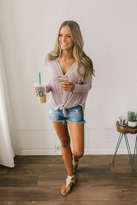 Lightweight Ribbed Knit Knot Top - Dusty Lavender