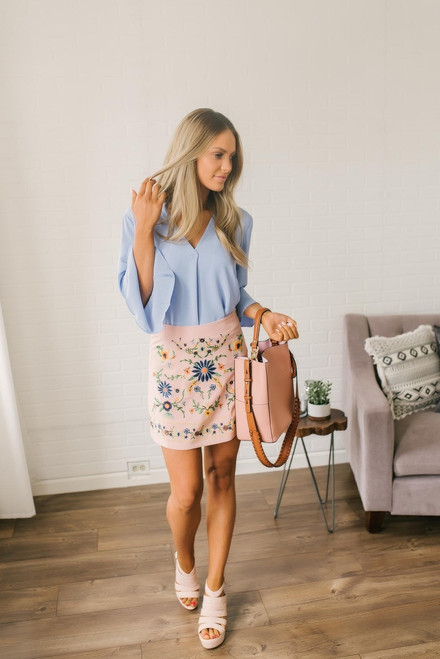 Flower Child Embroidered Skirt - Dusty Pink