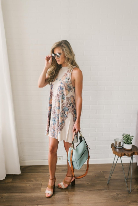 Desert Adventure Floral Dress - Taupe Multi