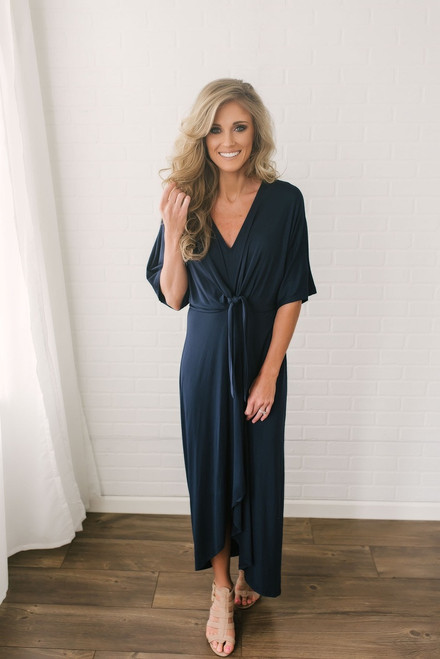 Short Sleeve Knotted Tulip Maxi - Navy