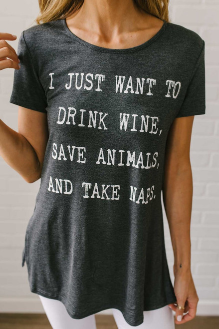 Wine, Animals, and Naps Graphic Tee - Charcoal - FINAL SALE