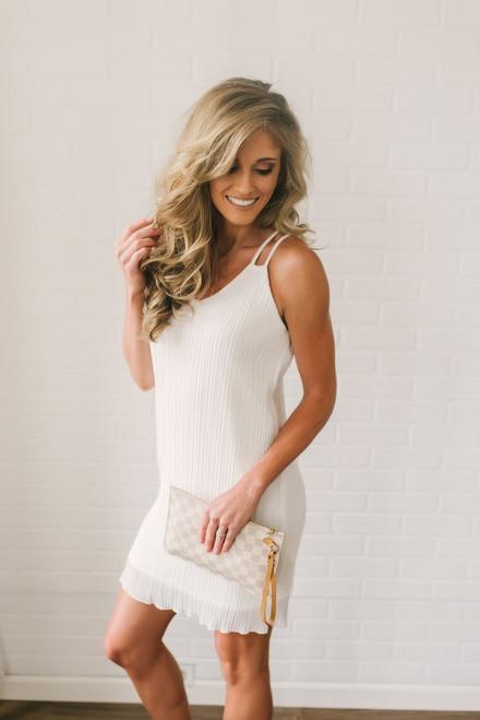 Love Story Pleated Chiffon Dress - White  - FINAL SALE