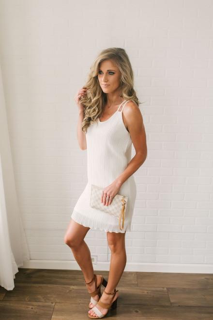 Love Story Pleated Chiffon Dress - White