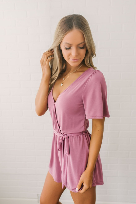 Short Sleeve Surplice Romper - Mauve