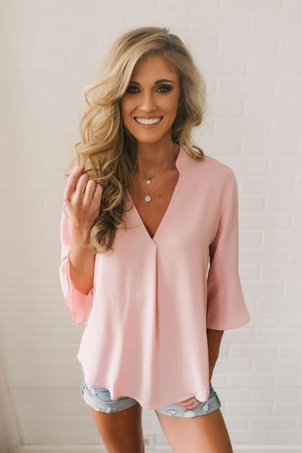 Beachcomber Peplum Sleeve Blouse - Light Pink