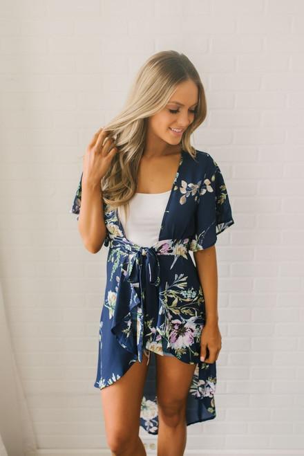 Short Sleeve Floral Print Kimono - Navy Multi