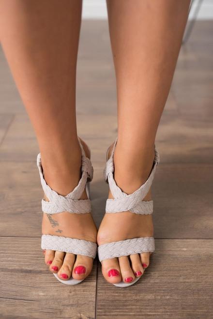 Destination Paradise Braided Heels - Taupe