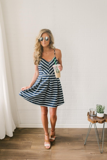 Sail Away with Me Striped Dress - Navy/White