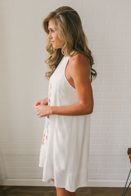 High Neck Floral Embroidered Dress - Off White