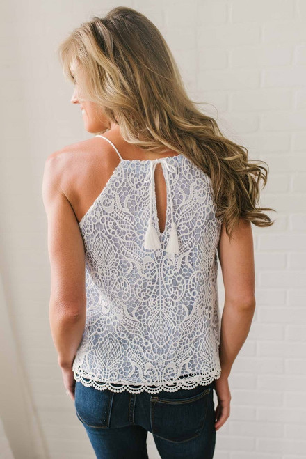 BB Dakota Norelle Lace Tank - Ivory/Blue