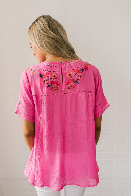 Holiday in Hawaii Floral Embroidered Top - Hot Pink
