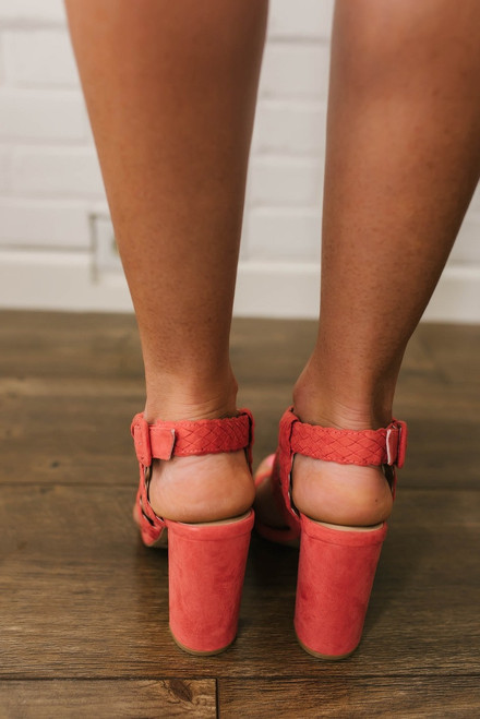 Destination Paradise Braided Heels - Coral