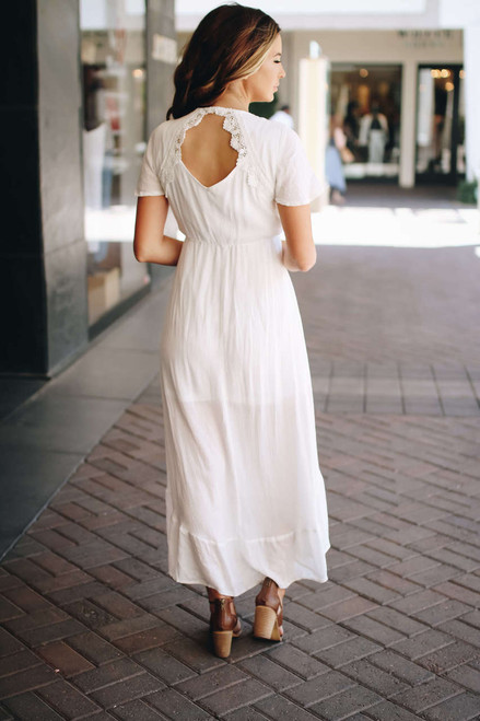 Short Sleeve High Low Dress - Off White