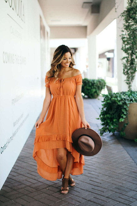Seaside Boardwalk High Low Dress - Dusty Orange - FINAL SALE