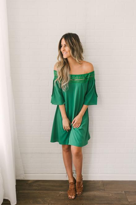Off the Shoulder Crochet Detailed Dress - Green