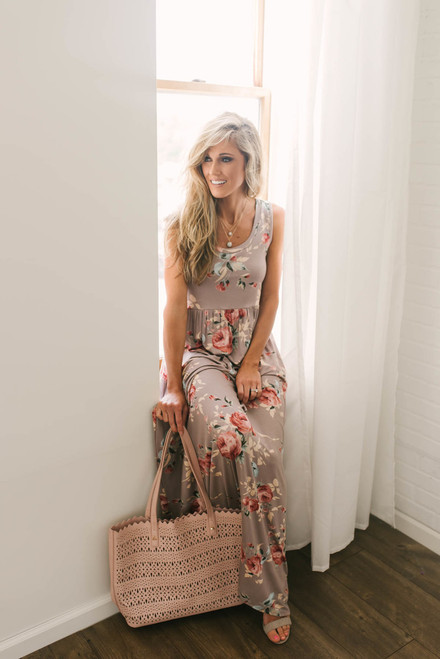 Champagne and Roses Floral Maxi - Mocha Multi