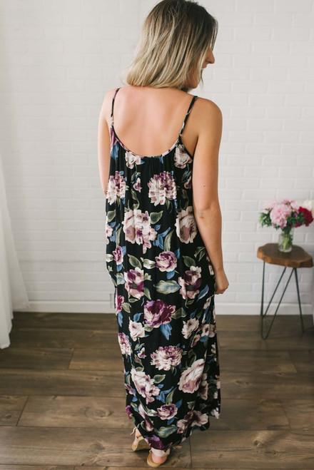 Summer in Saint Tropez Floral Maxi - Black Multi- FINAL SALE
