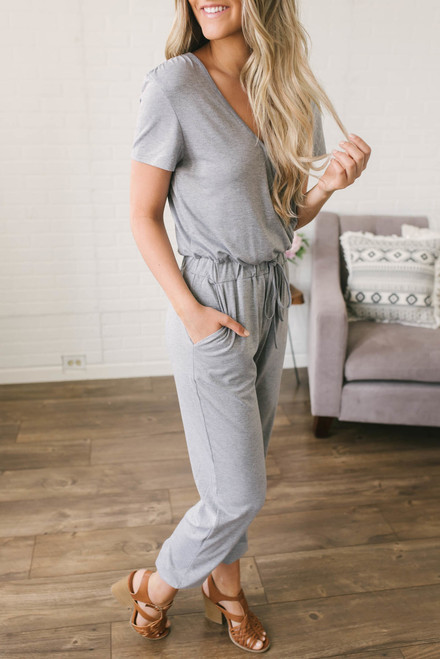 Short Sleeve Surplice Jumpsuit - Heather Grey -FINAL SALE