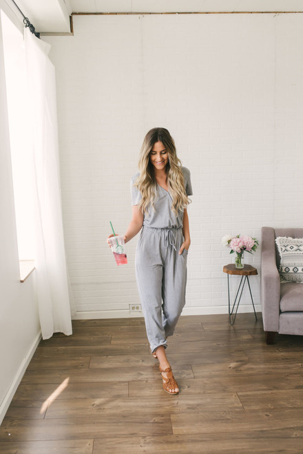 Short Sleeve Surplice Jumpsuit - Heather Grey