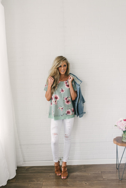 Short Sleeve Floral Illusion Top - Dusty Sage