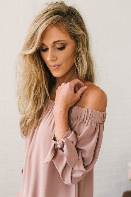 French Rivera Off the Shoulder Top - Dusty Rose - FINAL SALE