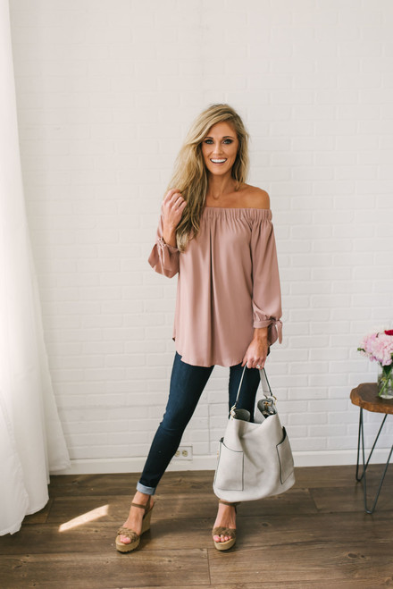 French Rivera Off the Shoulder Top - Dusty Rose