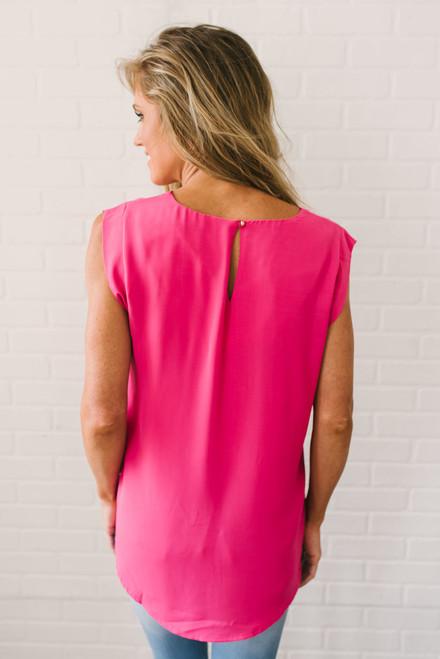 Cap Sleeve Woven Ladder Top - Hot Pink- FINAL SALE