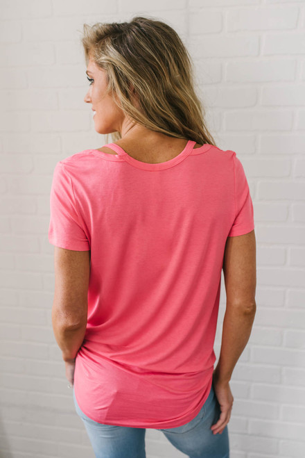 Castaway Cove Cutout Tee - Coral