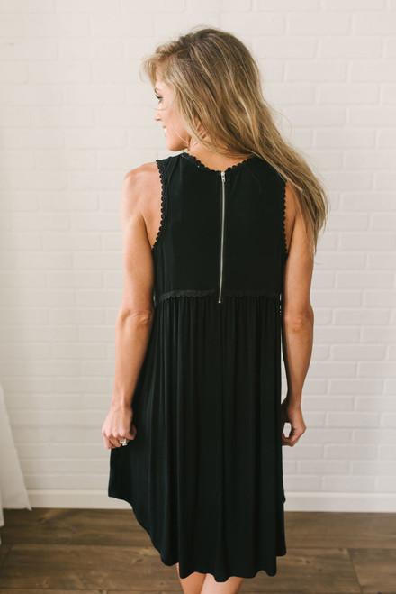 Cape May Crochet Trim Dress - Black