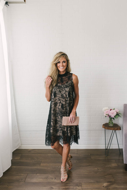 Magic Moments Scalloped Lace Dress - Black