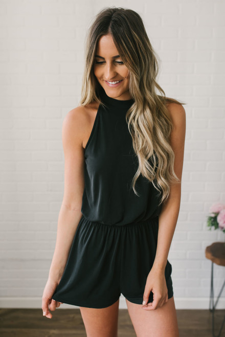 The In Crowd High Neck Romper - Faded Black