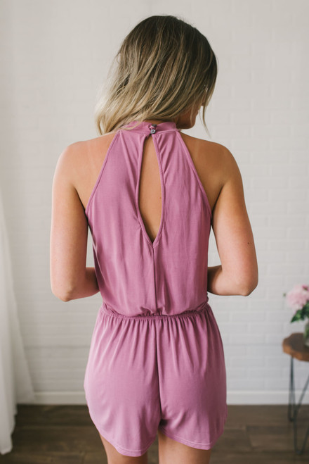 The In Crowd High Neck Romper - Mauve- FINAL SALE