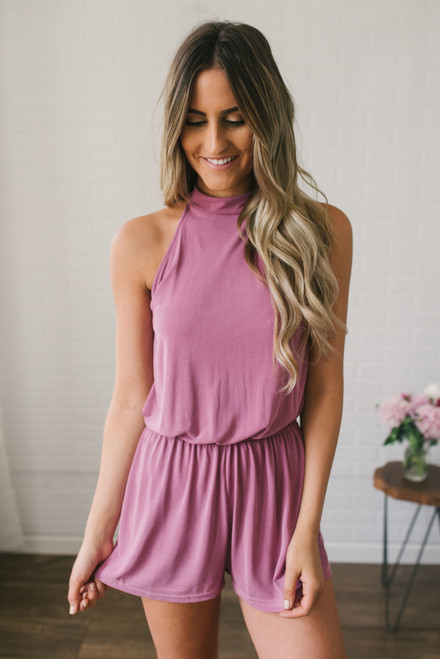 The In Crowd High Neck Romper - Mauve