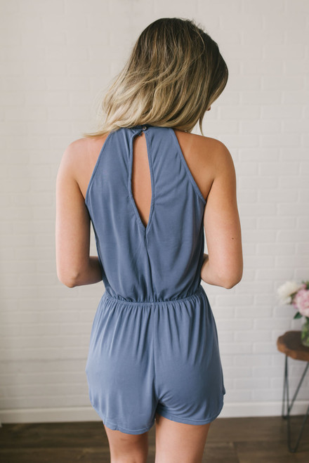 The In Crowd High Neck Romper - Dusty Blue