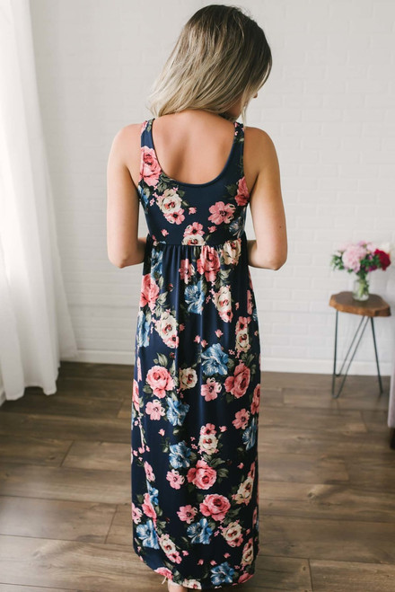 Wine Country Floral Maxi - Navy Multi
