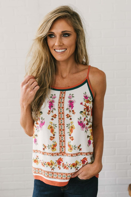 Indian Summer Floral Tank - Ivory Multi