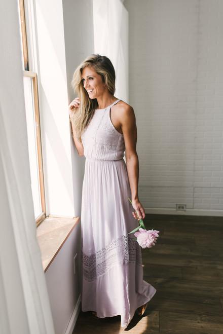 Crochet Lace Maxi Dress - Lilac