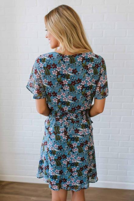 Short Sleeve Lace Up Floral Dress - Blue Multi - FINAL SALE