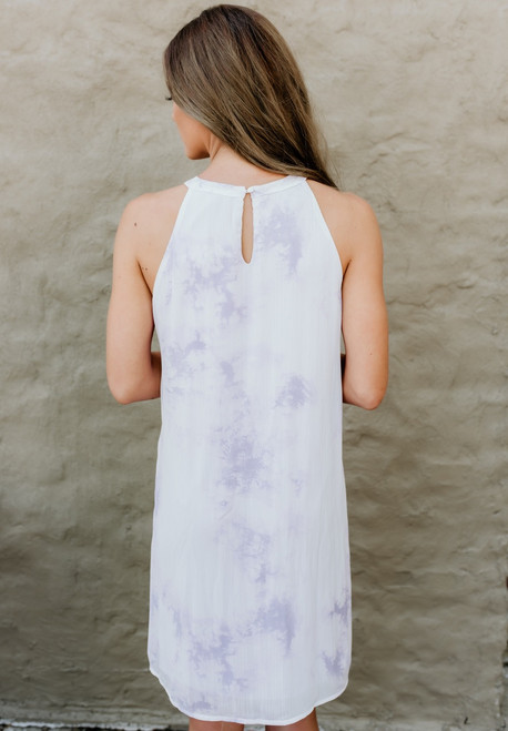 Island Sunset Tie Dye Dress - Lavender/White