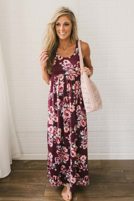 Wine Country Floral Maxi - Burgundy Multi