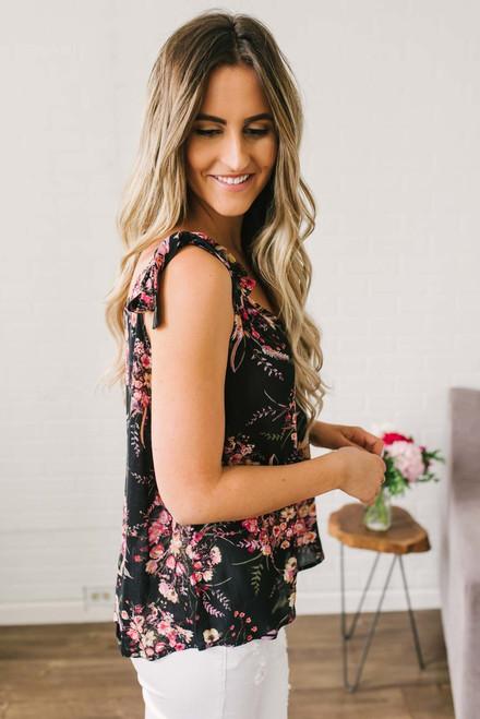 Tie Shoulder Floral Print Tank - Black Multi