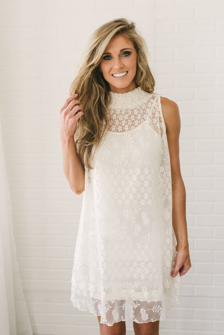 Maybelle Mock Neck Lace Dress - Cream