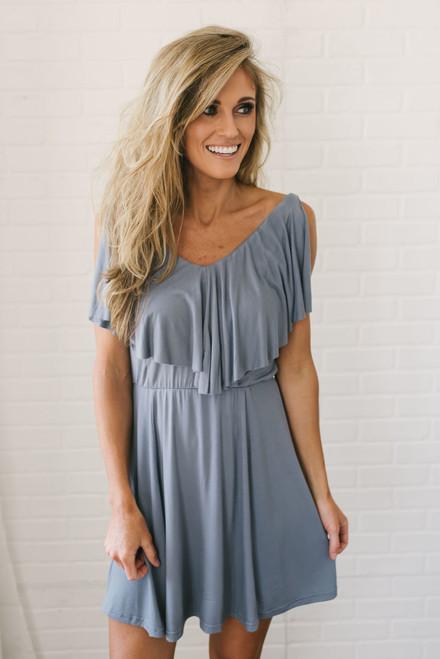Meant to Be Flounce Dress - Slate Grey