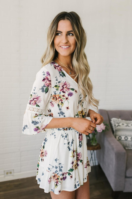 Freshly Picked Floral Romper - Ivory Multi