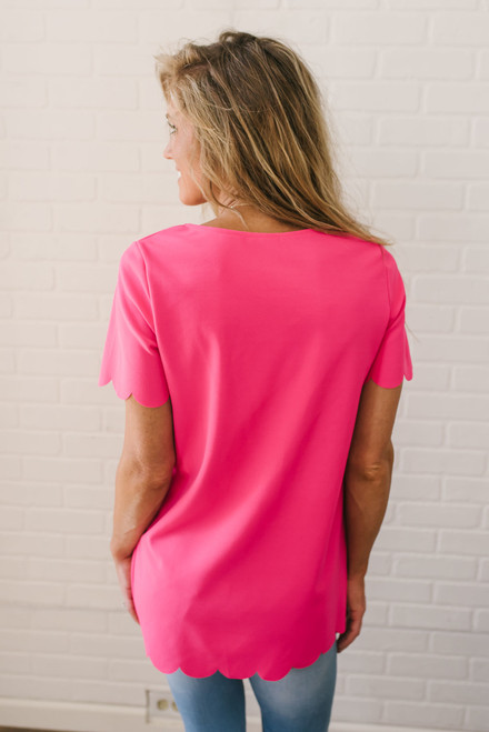 Thinking of You Scalloped Top - Hot Pink