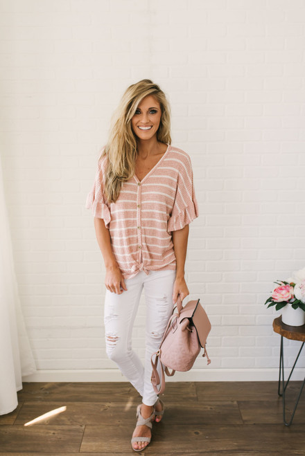 Striped Button Down Thermal Top - Coral/White